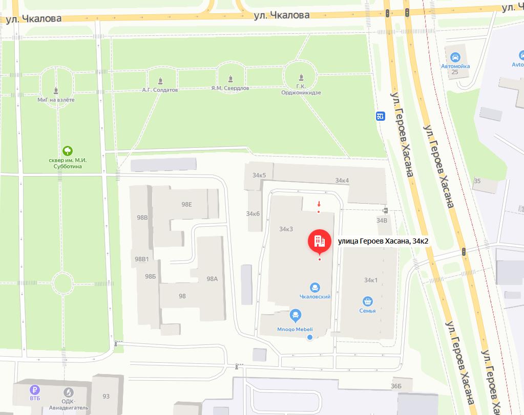 Карта проезда к ТЦ Чкаловский